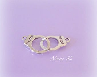 """1 pair of silver Metal handcuff / charm """"FREEDOM"""""""