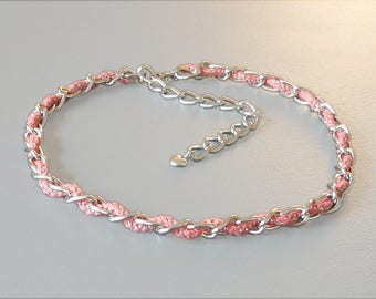 Headband / headband in coral and silver chain BCA76