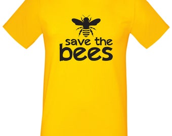 Save The Bees T-Shirt, Yellow Ladies Mens, Conservation, Nature, Environment