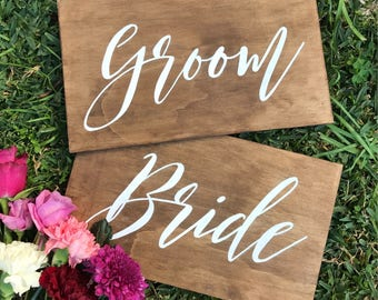 Bride and Groom sign | Mr and Mrs Sign | Chair sign | Welcome Wedding Sign | Reception sign | Signed by Row