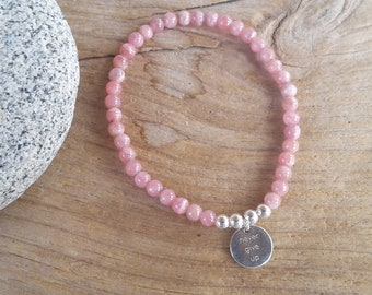 """Bracelet with rhodochrosite, silver 4 mm beads and medal """"never give up"""""""