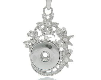 1 white snap Click Creation 5.5x3.4cm necklace rhinestone pendant