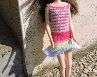 Dress spaghetti straps for Barbie, knitted by hands
