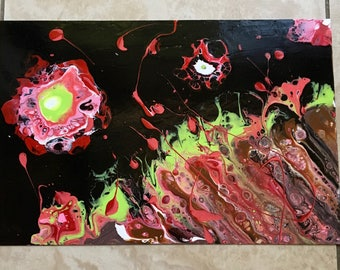 "Abstract acrylic fluid painting on 8"" x 11"" metal. Varnished and ready to hang. Unique and original."