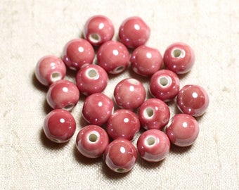 100pc - ceramic porcelain iridescent 10mm peach pink coral round beads