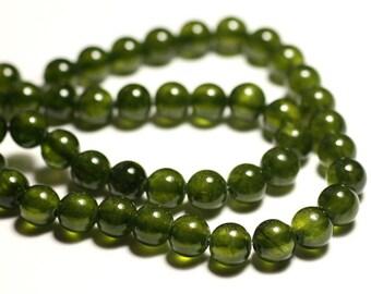 Wire 48pc approx 39cm - jade stone - balls 8mm Olive Khaki Green