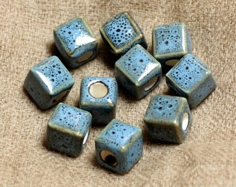 100pc - ceramic porcelain beads 10mm Turquoise Blue Cubes