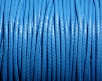 5 Metters - waxed cotton cord coated round 2 mm blue azure - 4558550088352