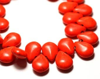 20pc - beads Turquoise drops 16 mm Orange 4558550031310 synthesis