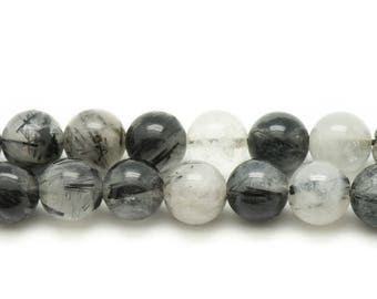 10pc - stone beads - Tourmaline Quartz balls 6mm - 4558550035134