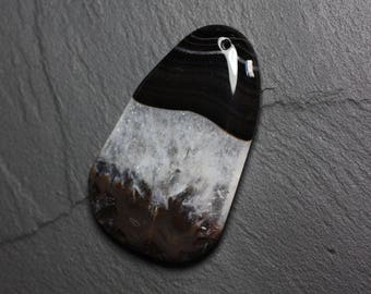 Pendant - Agate and Quartz Black and white drop 58mm N41 - 4558550085894