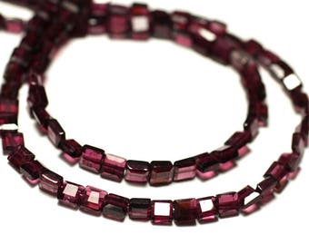 20pc - stone beads - Garnet faceted square 4-5mm - 8741140022546