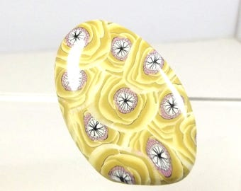 Ring: roses mustard yellow and pink: 4.2 cm