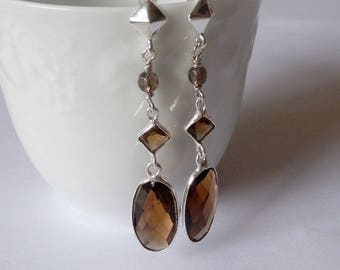 Lutfu earrings smoky quartz faceted and Silver 925/1000