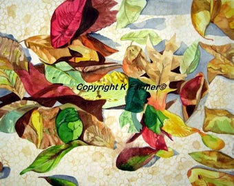 Watercolor,Fallen Leaves,Still life