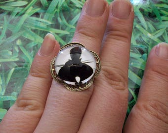 ring cabochon black cat