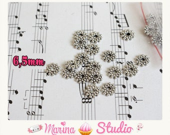 50 Intercalaires beads / rondelle flower silver 6.5 mm n19507
