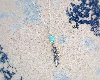 Aquene - necklace-feather turquoise Amazonite