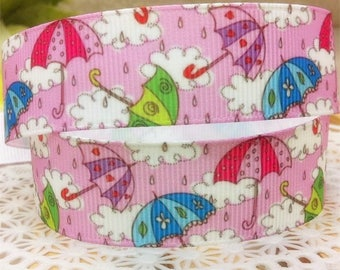 Ribbon grosgrain printed * 22 mm * umbrella cloud pink background - sold by the yard