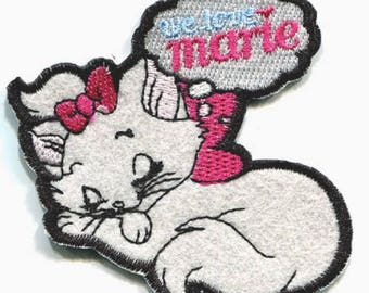 White Love knot Rose MARIE cat - Patch embroidered patch Thermo * 8 x 9 cm *.