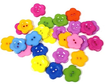 20 buttons mixed colors ABS flowers