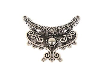Great connector for necklace in antique silver tone metal