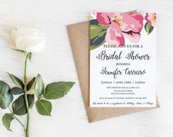 2017, Bridal Shower Invite, New Design, Floral, Wedding Shower Invitation, Watercolor Flowers,  Pink, Printable, Download, Modern Floral