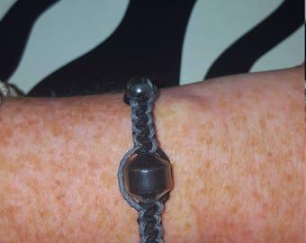 Black & Gray Hemp Friendship Bracelet - Metallic