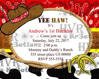 Cowboy Western Party Invitation/personalized/digital format JPEG/you print it