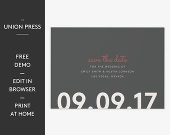 Modern Wedding Save The Date Printable Template, Editable Free Demo, Simple & Minimalist Design, Instant Download, All Colors Customizable