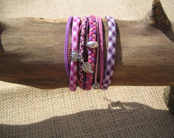 Handmade bracelet cuff multi row and silver charms