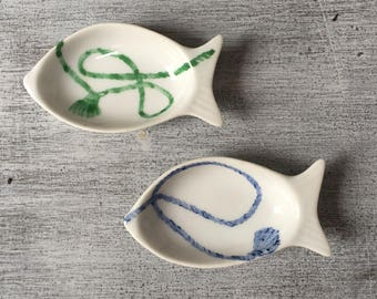 """Set of two small fish decor """"Braid"""" porcelain blue and green"""