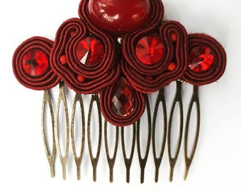 Soutache hair comb with red crystals
