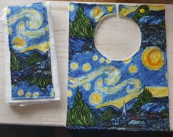 Van Gogh Starry night bib and burp cloth set