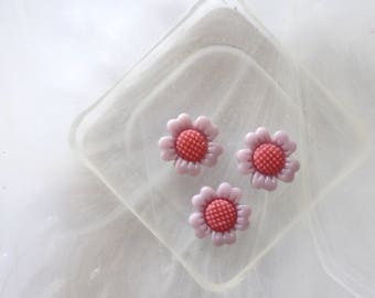small purple and pink cabochon flowers scrapbooking