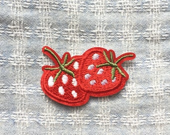 Strawberry Patch, Fruit Patch - Iron on Patch, Sew On Patch, Embroidered Patch