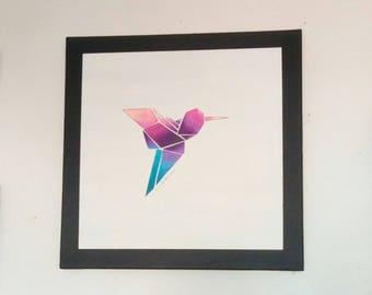 Original hand painted 'hummingbird origami' canvas painting