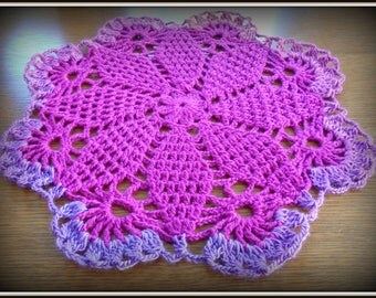 Doily crochet acrylic purple and pink multicolor
