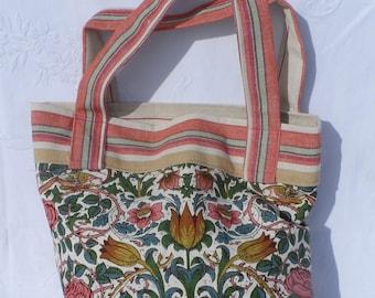 Hand Made William Morris Design Linen Tote Bag