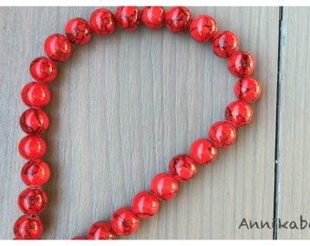 25 marbled black 8 mm red jade beads