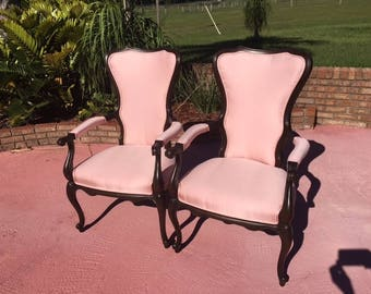 pair country french chairs restored new fabric