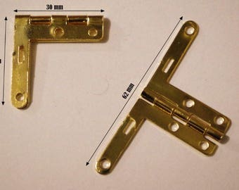 Set of 6 Gold hinges for jewelry box chest box matching screws.