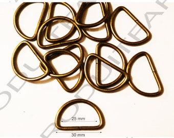4 rings for strap 30 mm Bronze Metal shoulder strap handle