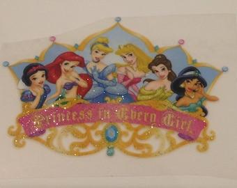 Transfer Disney princess glitter 75 mm / 55 mm