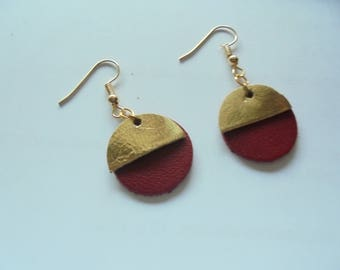 red leather and gold earrings