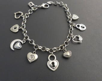 Adjustable heart themed silver charm bracelet