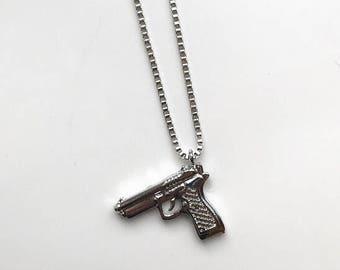 Silver Gun Necklace