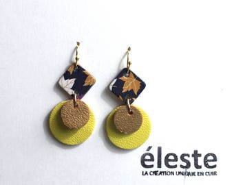 Yellow leather earrings / black, white, gold patterns / lightweight earrings with hypoallergenic and anti oxidant clip