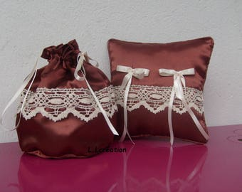 ring pillow in Brown satin pouch bag