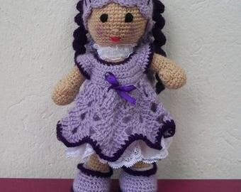 Purple crocheted wool doll